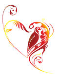 Floral Heart. Illustration of floral heart with birds inside Royalty Free Stock Photo