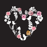 Floral heart. Illustration of a heart with flowers Royalty Free Stock Photos
