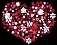 Floral heart. Isolated on black Royalty Free Stock Photography