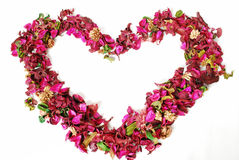 Floral heart. Frame with a white background in the form of the heart, made of natural dried petals, flowers, bark, framing, background, celebration, red, for Stock Photography