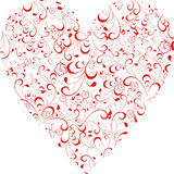 Floral Heart. Red Scrolled floral shape of heart Stock Photography