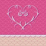 Floral heart. Card with floral heart on pattern background Royalty Free Stock Images