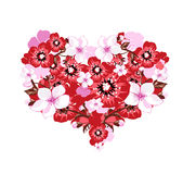 Floral heart. Illustration of lovely fresh blossom in spring in shape of heart Royalty Free Stock Photos