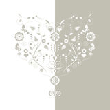 Floral heart background. Vector illustration of a light grey floral background Royalty Free Stock Photo