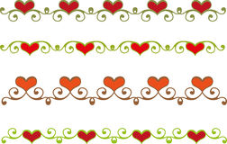 Floral heart border. Set of floral heart borders Royalty Free Stock Photography