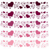Floral heart borders. Set of decorative floral heart borders Stock Image