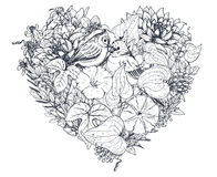 Floral heart. Bouquet with hand drawn flowers and plants. Royalty Free Stock Photography