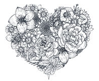 Free Floral Heart. Bouquet With Hand Drawn Flowers And Plants. Royalty Free Stock Photo - 85470815