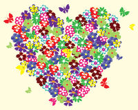 Floral heart with butterflies Stock Photography