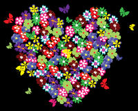 Floral heart with butterflies Royalty Free Stock Image