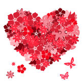 Floral heart with butterflies Royalty Free Stock Photo