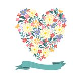 Floral Heart Card. Cute retro flowers. Stock Images