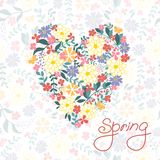 Floral Heart Card. Cute retro flowers. Royalty Free Stock Photography