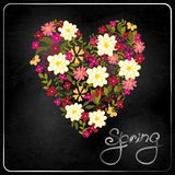 Floral Heart Card. Cute retro flowers. Royalty Free Stock Photo