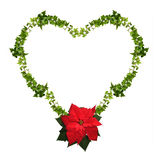 Floral heart - Christmas frame isolated Stock Photos