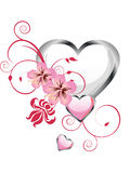 Floral heart design. Illustration of a white heart with floral elements and beautiful flowers Royalty Free Stock Photography