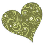Floral heart design. Groovy vector floral heart design Royalty Free Stock Image