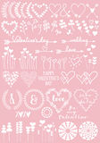 Floral heart designs, vector set Stock Photo