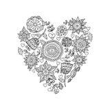 Floral heart.Doodle Heart. Vector illustration. Stock Images