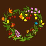 Floral heart with flowers and berries Stock Images