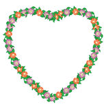 Floral heart with flowers - vector frame Stock Images