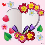 Floral heart with flowers, herbs and leaves. Floral vector heart with flowers, herbs and leaves Stock Photo