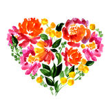 Floral heart with flowers and leaves . Watercolor Stock Images