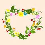 Floral heart frame with flowers and berries Stock Images