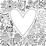Floral heart frame made of flowers. Royalty Free Stock Photos