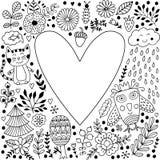 Floral heart frame made of flowers. Vector Illustration