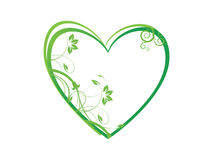 Floral in heart frame theme, green Royalty Free Stock Photography