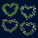 Floral heart frames with white flowers Royalty Free Stock Photos