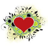 Floral Heart - Green. Valentine's Day Design With Green Circles and Floral Elements royalty free illustration