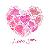 Floral heart. Hand draw romantic pink heart with flowers in Doodle style royalty free illustration