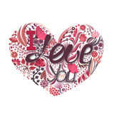 Floral heart. Hand drawn creative flower. Greeting background on Valentine`s Day. Feast of love. Holiday Stock Photography