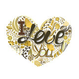 Floral heart. Hand drawn creative flower. Greeting background on Valentine`s Day. Feast of love. Holiday Stock Images