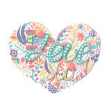 Floral heart. Hand drawn creative flower. Greeting background on Valentine`s Day.  Royalty Free Stock Photography