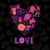 Floral heart. Heart made of flowers.Doodle Heart. Valentines day card, animal and flowers doodles. Royalty Free Stock Photography