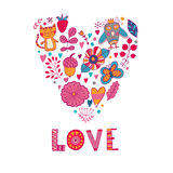 Floral heart. Heart made of flowers.Doodle Heart. Valentines day card, animal and flowers doodles. Stock Photography