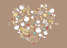 Floral Heart. I Love you Stock Image