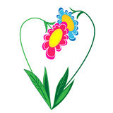 Floral heart illustration.isolated object Royalty Free Stock Photos