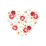 Floral heart invitation card. Vector heart of flowers, template for save the date or wedding invitations etc Royalty Free Stock Photo