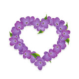 Floral heart with lilac flowers Stock Photos