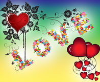 Floral Heart Love background Stock Photo