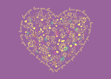 Floral Heart. Love you Stock Image