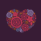 Ornamental floral heart with many quality details Stock Photos