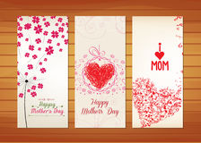 Floral and heart Mother's Day Cards. Happy mother day with elements card and background for design Royalty Free Stock Photography