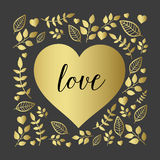 Floral heart with nature brunch and leaf Royalty Free Stock Photos