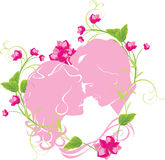 Floral heart with newly married Royalty Free Stock Images