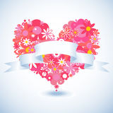 Floral heart paper banner Stock Photo